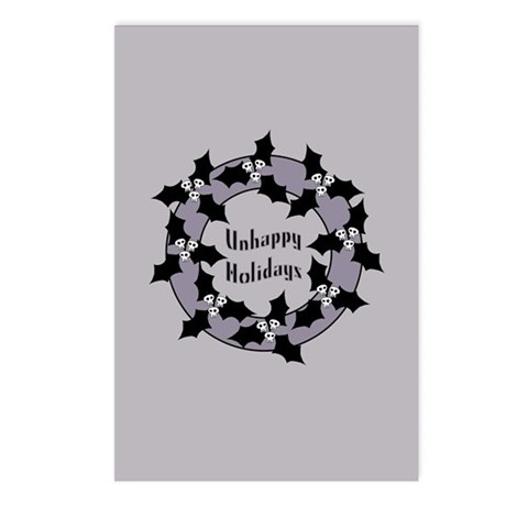 Unhappy Holidays Gothic Holly Wreath Postcards (Pa