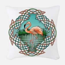 Celtic Flamingo Art Woven Throw Pillow