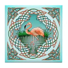 Celtic Flamingo Art Tile Coaster