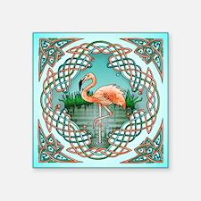 "Celtic Flamingo Art Square Sticker 3"" x 3"""