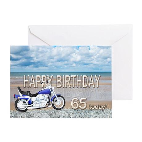 65th birthday beach bike Greeting Card