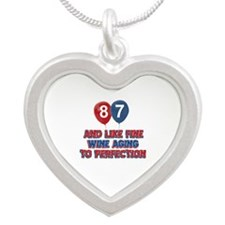 87 and aging like fine wine Silver Heart Necklace