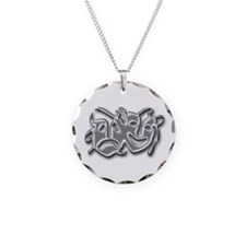 Theatre Masks Necklace Circle Charm