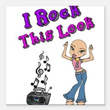 "Bald Beautiful Girl Square Car Magnet 3"" x 3"""