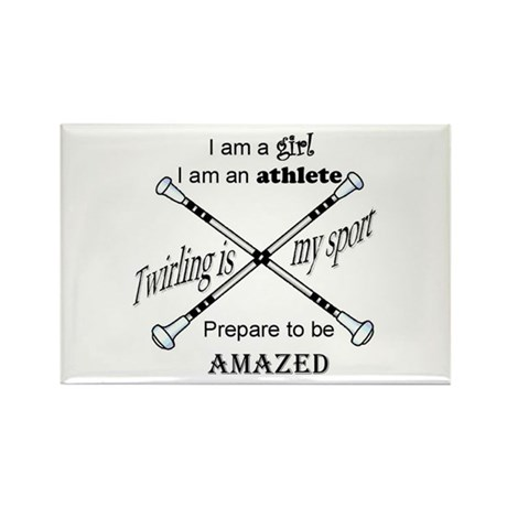 Twirling Athlete Rectangle Magnet