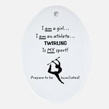Twirling Athlete Ornament (Oval)