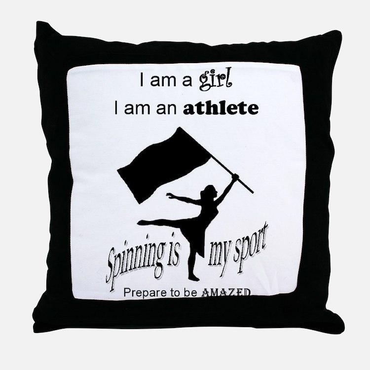 Spinning Athlete Throw Pillow