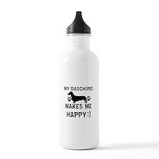 My Daschund dog makes me happy Water Bottle