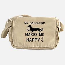 My Daschund dog makes me happy Messenger Bag