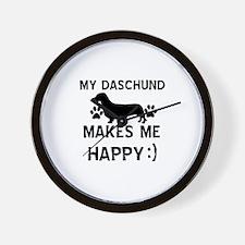 My Daschund dog makes me happy Wall Clock