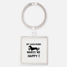 My Daschund dog makes me happy Square Keychain