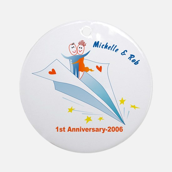 On Paper Plane Ornament (Round)