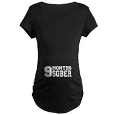 9 Months Sober - Pregnancy - White Maternity T-Shi