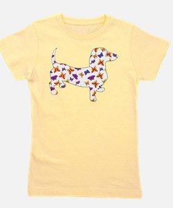 Butterfly Doxie Dachshund Girl's Tee