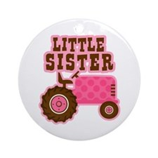 Pink Tractor Little Sister Ornament (Round)
