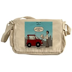 Smart Car vs Dumb Guy Messenger Bag