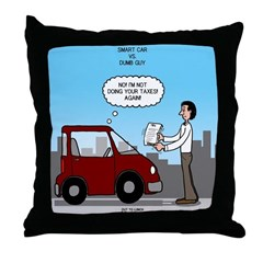 Smart Car vs Dumb Guy Throw Pillow