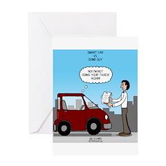 Smart Car vs Dumb Guy Greeting Card