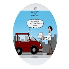 Smart Car vs Dumb Guy Ornament (Oval)