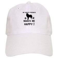 My Great Pyrenees dog makes me happy Baseball Cap