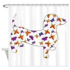 Butterfly Doxie Dachshund Shower Curtain