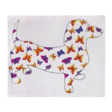Butterfly Doxie Dachshund Throw Blanket