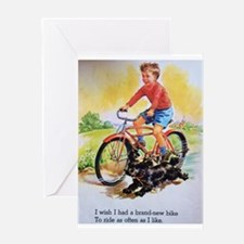 Vintage Bike Boy Greeting Card