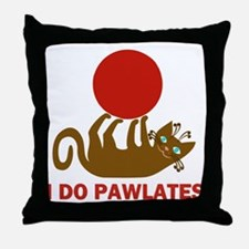 I Do Pawlates Cat and Exercise Humor Throw Pillow