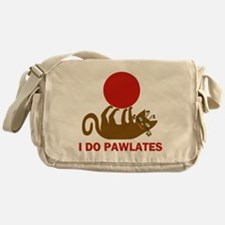 I Do Pawlates Cat and Exercise Humor Messenger Bag