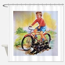 Vintage Bike Boy Shower Curtain