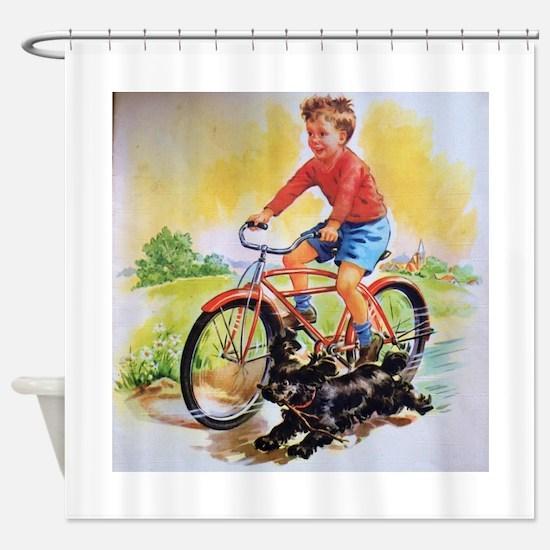 Vintage Bike Boy Shower Curtain