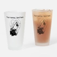 Custom Wolf Howling At Moon Drinking Glass