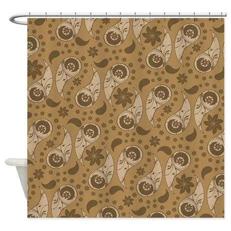 Brown Floral Paisley Shower Curtain By Bwcdesigns