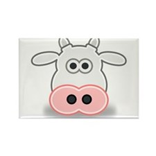Cartoon Cow Face Rectangle Magnet (10 pack)