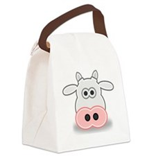 Cartoon Cow Face Canvas Lunch Bag