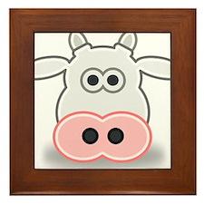 Cartoon Cow Face Framed Tile