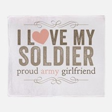 I Love my Soldier Throw Blanket