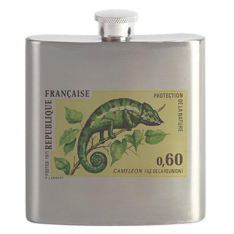 1971 Reunion Island Chameleon Postage Stamp Flask