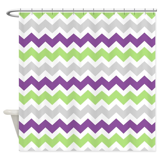 Lime Purple Grey Chevron Stripes Shower Curtain By DreamingMindCards