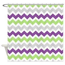 Lime Purple Grey Chevron Stripes Shower Curtain