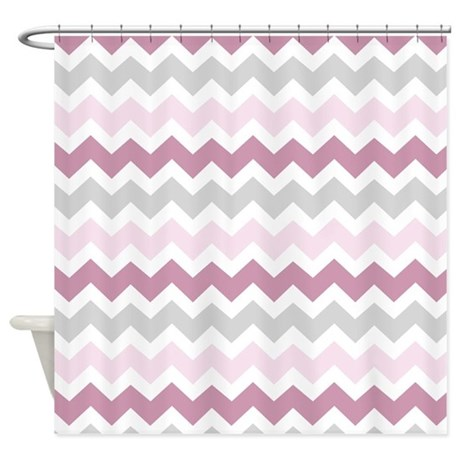 Pink Grey Chevron Stripes Shower Curtain By Dreamingmindcards