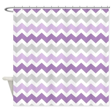Purple Grey Chevron Stripes Shower Curtain By