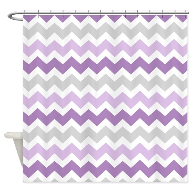 Purple Grey Chevron Stripes Shower Curtain by DreamingMindCards