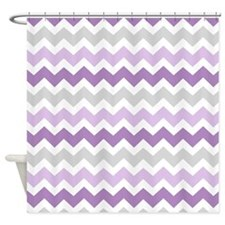 Purple Grey Chevron Stripes Shower Curtain