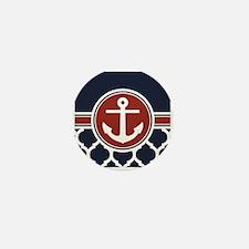 Anchor and Moroccan Lattice Pattern Mini Button