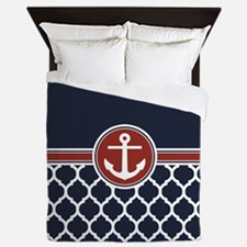Anchor and Moroccan Lattice Pattern Queen Duvet