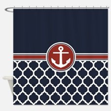 Anchor and Moroccan Lattice Pattern Shower Curtain