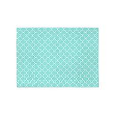 Aqua White Quatrefoil Pattern 5'x7'Area Rug