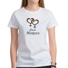Just Married - Hearts - Lesbian Pride - Light T-Sh