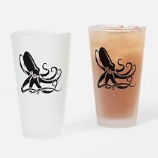 Black Octopus Drinking Glass